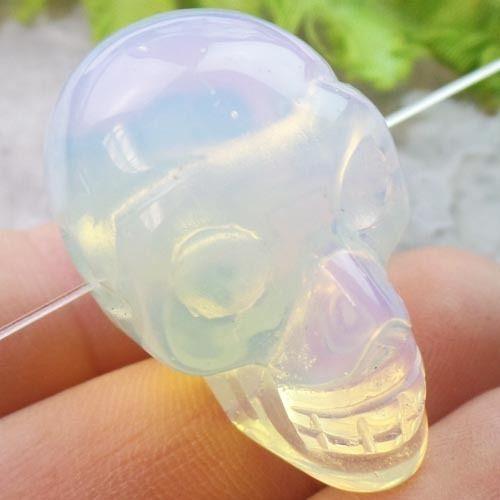 Carved-Opal-Opalite-Skull-Pendant-Bead-E595