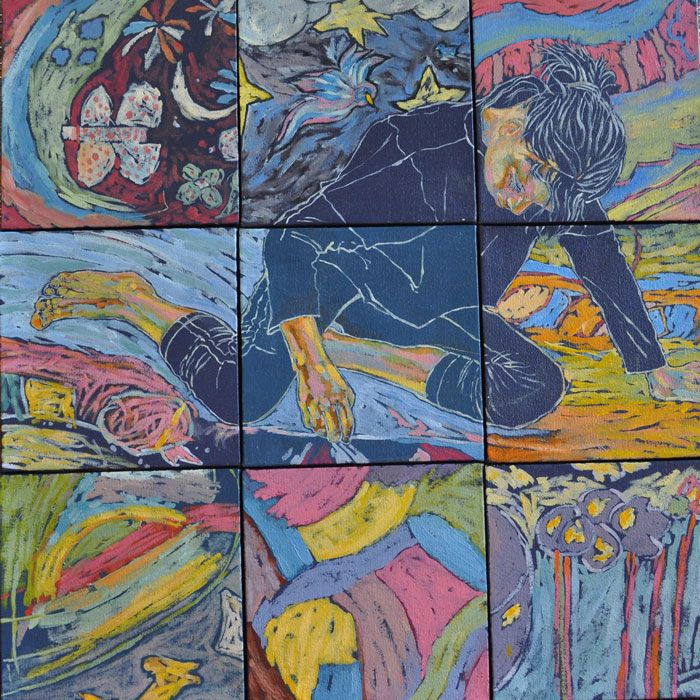 Oceans of Dreams (oil on canvas, square mosaic 9 X  : 150X150mmX22mm)   by Lisl Barry www.lislbarry.co.za as part of the Prince Albert Pavement Art Project #pa_rt