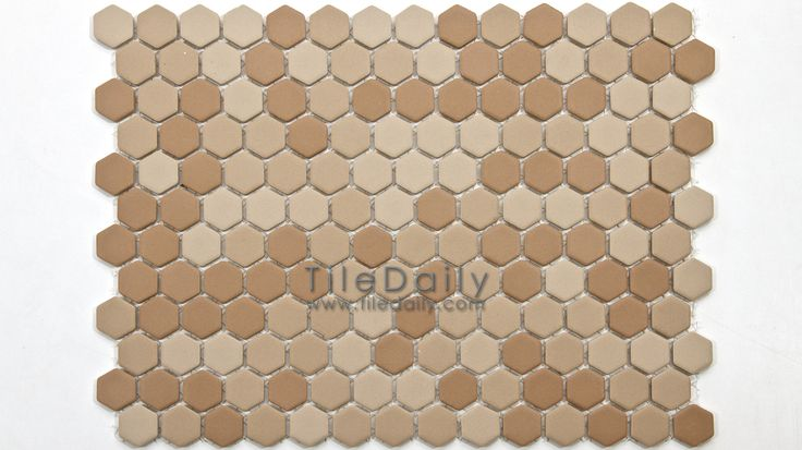 PM0032BN - Matte Hexagon Porcelain Mosaic, Brown...boring but could work