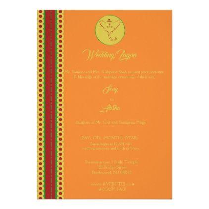 Bollywood Indian Border Ganesh Wedding/Lagna Card - wedding invitations diy cyo special idea personalize card