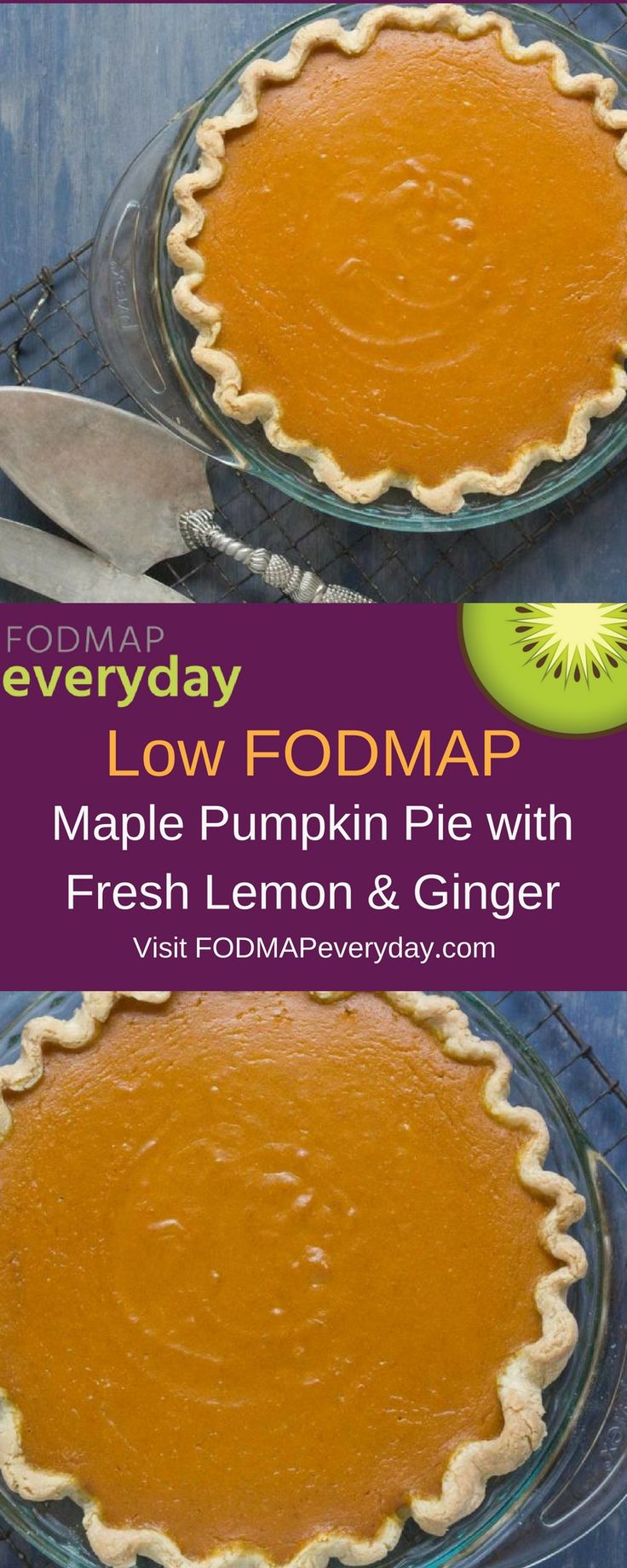 This version of pumpkin pie is lightly sweetened with maple syrup and flavored with fresh lemon zest and freshly grated ginger, which provide a bit of zing. If you love pumpkin pie and have been looking for something a bit different, this is it!