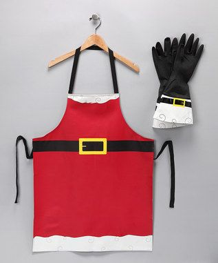 I have the same apron for baking Christmas cookie !  - guess I need the gloves to match.
