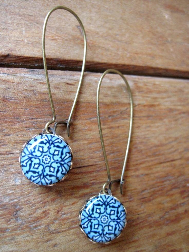 'Shrunken Cat Heads' designs earrings (by Cori Crooks) Islamic tile cabochon, handmade, Antique oxidized brass kidney wires, Islamic jewelry