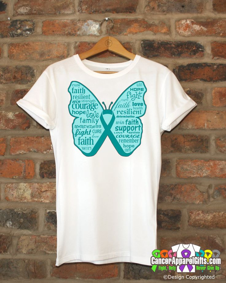 Gynecologic Cancer Butterfly Collage of Words Shirts