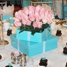 tiffany blue centerpiece   Tiffany blue with shades of pink!