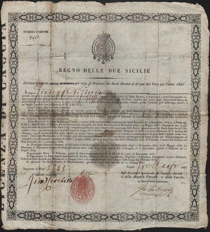 LICENZA DI CACCIA A GIUSEPPE DE GIORGIO-REGNO DELLE DUE SICILIE-3 MARZO 1845