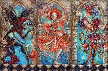 "Artist Elvira Baranova. Painting, ""Masquerade of Angels""."