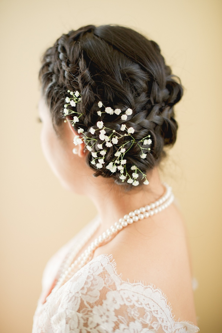 Bridal hair accessories babys breath - Babies Breath Wedding Hairstyles With Flowers