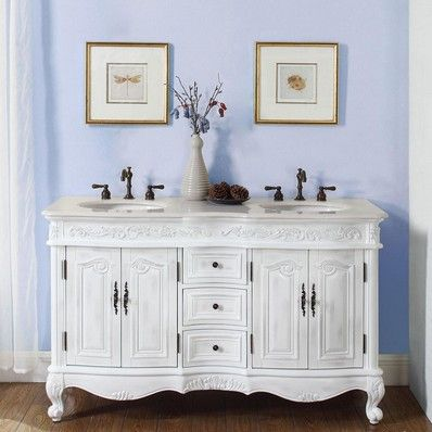 "Antique 58"" Double Sink Bathroom Vanity, Cream Marfil Top by Silkroad exclusive 