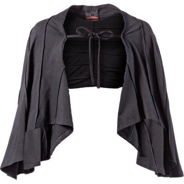 Bolero mit Fledermausärmeln - Queen of Darkness - Gothic / Dark... ❤ liked on Polyvore featuring outerwear, jackets, cloak, gothic jacket, black cloak, black jacket, bolero jacket and black bolero