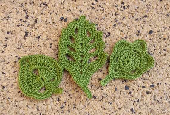 3 green fabric leaves crochet leaves green crochet by Rocreanique on Etsy