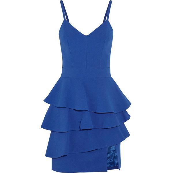 Emanuel Ungaro Ruffled crepe peplum mini dress ($325) ❤ liked on Polyvore featuring dresses, cobalt blue, flounce dress, short blue dress, short dresses, cobalt blue dresses and short ruffle dress