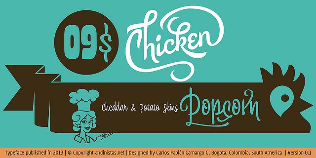 myfonts.us/6jqbgN Chef Script is an experimental font. Its fantasy design contains 1463 glyphs to compose words, phrases and short messages on small and large sizes.:
