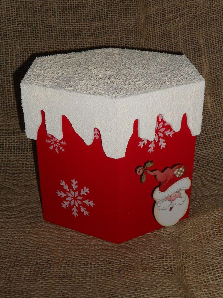 Peça em MDF, pintura vermelho natal, estencil e recorte de papai noel