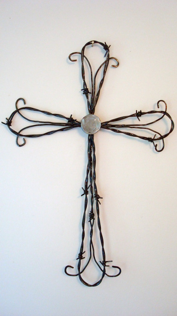 Hand Crafted Barbed Wire Wall Cross by Jaysmetaldesigns on Etsy, $29.95