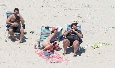 The governor said he hadn't been out in the sun, but we caught him with his family at Island Beach State Park, which he had closed to the public in a budget squabble