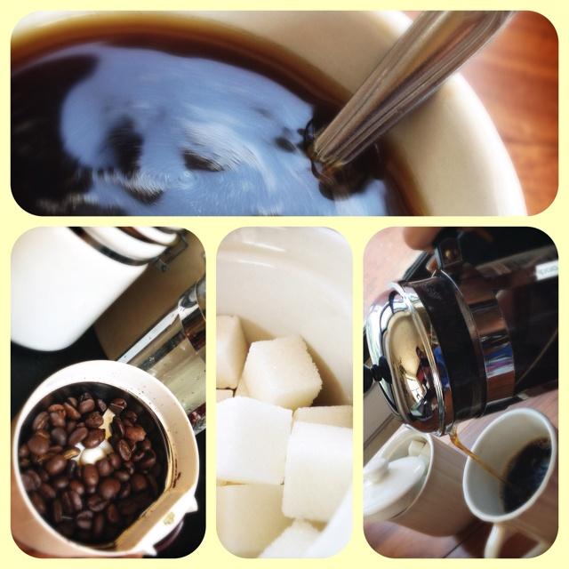 My morning coffee ritual. Oh it's no joke.....