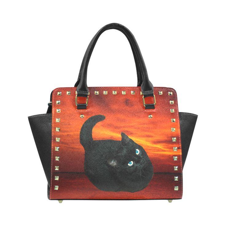 Black Cat Rivet Shoulder Handbag (Model 1645)