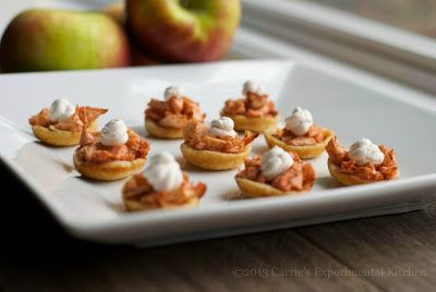 Spiked Mini Apple Tarts with Cinnamon Whipped Cream  #thanksgiving #desserts #blogherholidays