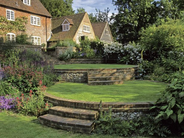 Country Garden with Retaining Walls