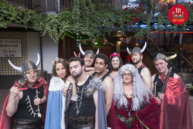 The fabulous invasion of Erica's Viking Hen Party — with Jigg Handsome, Captain of the long ship, The God that is Odin, Benny, Son of Bjorn, Brunhilda, The Bridesmaid, NoYaSeeYa, The Soothsayer, Ivor Big Un and Shaggan Daz, The friendly