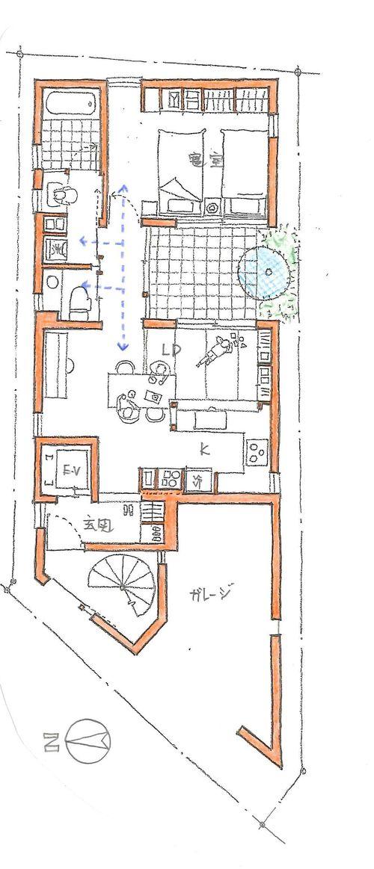 敷地面積の大小にかかわらず、2世帯住宅を考えている方も多いかと思います。  この家は、敷地面積29坪に建つ2世帯住宅の子供世帯の間取りで、 ガレージ...