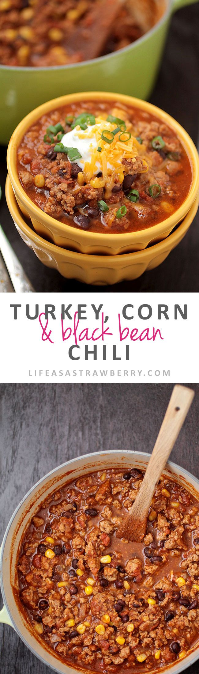 Turkey, Corn, and Black Bean Chili | Try this quick and easy turkey chili recipe for a lighter version of your favorite black bean chili. Perfect for chilly weeknights!