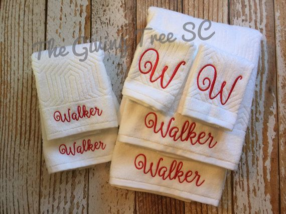 Monogrammed Towel Set Bath Towels Hand Towels Washcloths