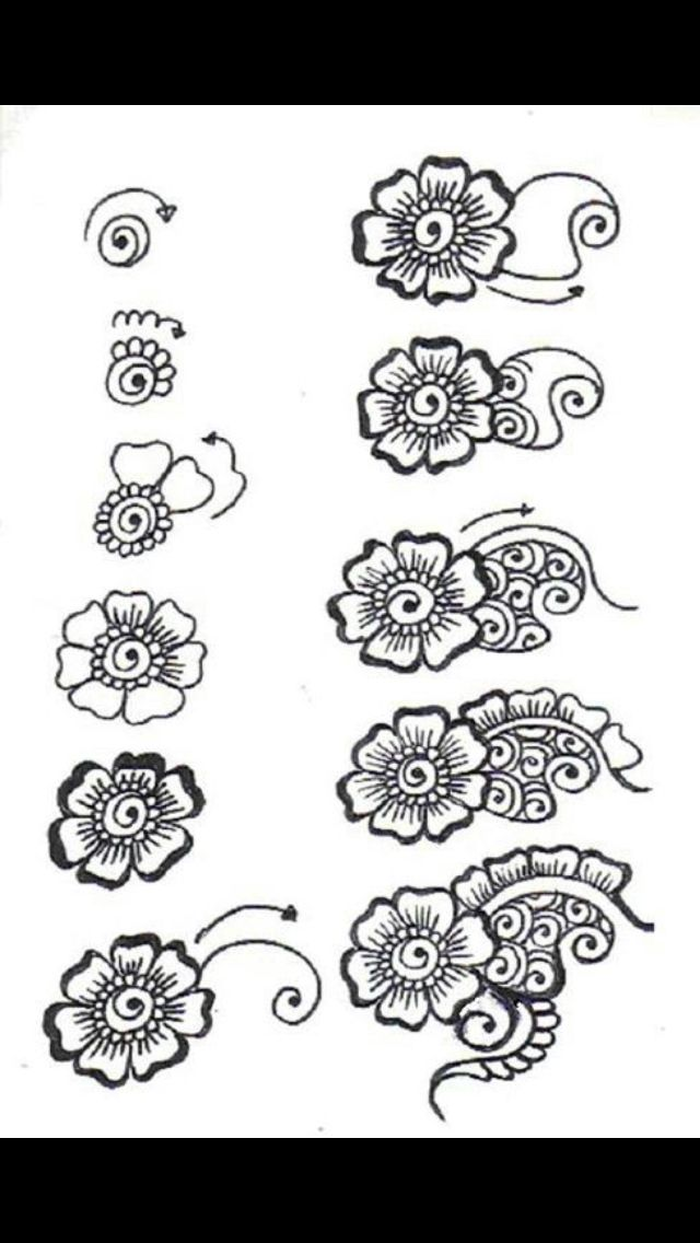 Mehndi Flower Designs Step By Step : Best color me beautiful images on pinterest tattoo