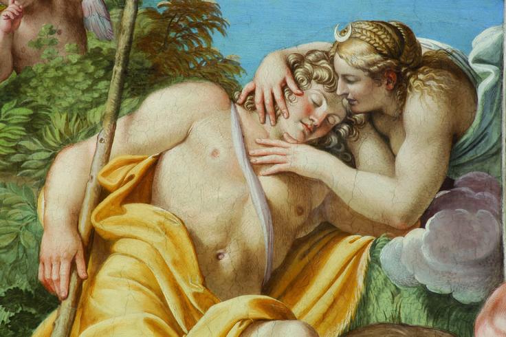 Fratelli Carracci e aiuti - Séléné et Endymion - 1597-1602 - affresco - Galleria Carracci, Palazzo Farnese, Roma
