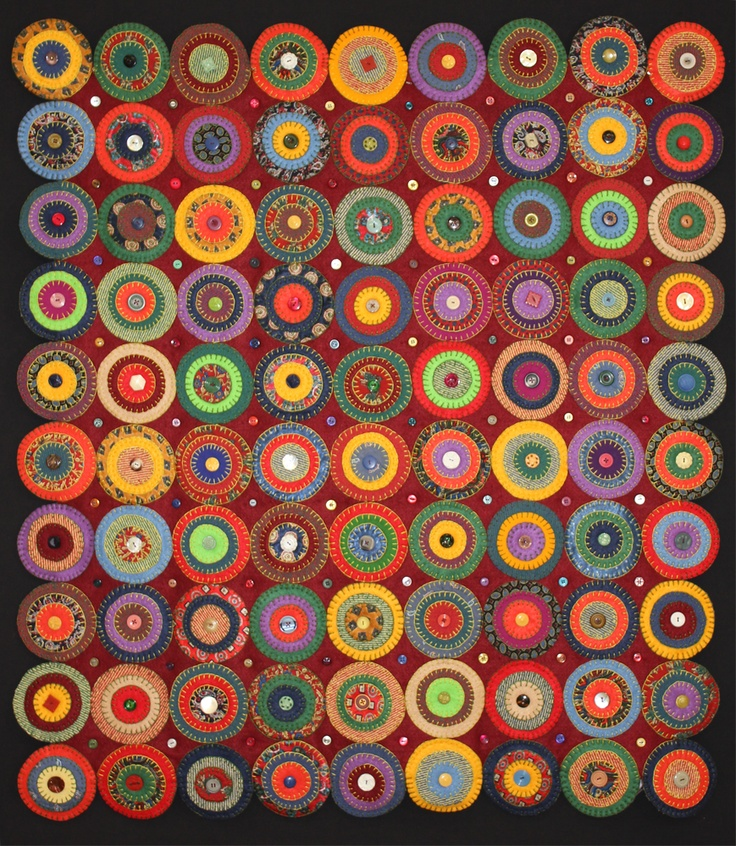 felt and cotton circles, buttons and circles