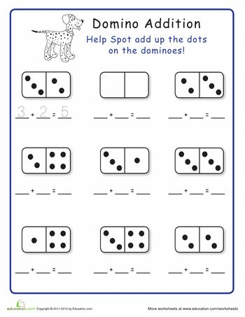 Worksheets: Domino Addition: Add the Dots