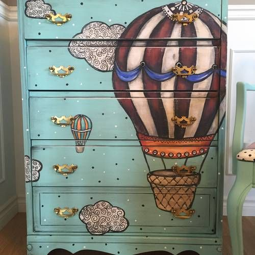 Hot air balloon vintage dresser upcycle - before and after - pic heavy - HOME SWEET HOME