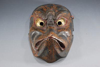 Japanese Old Konron Hermit Noh Mask Men Kabuki Nio God kyougen samurai Vintage 4