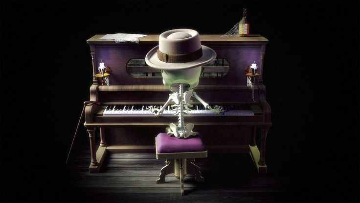 Carlos Tschuschke. 2006. Lonely skeleton playing piano.