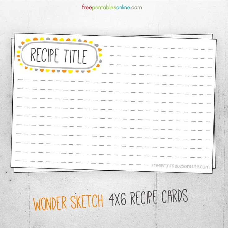 This is an image of Magic Printable Recipe Cards 4x6