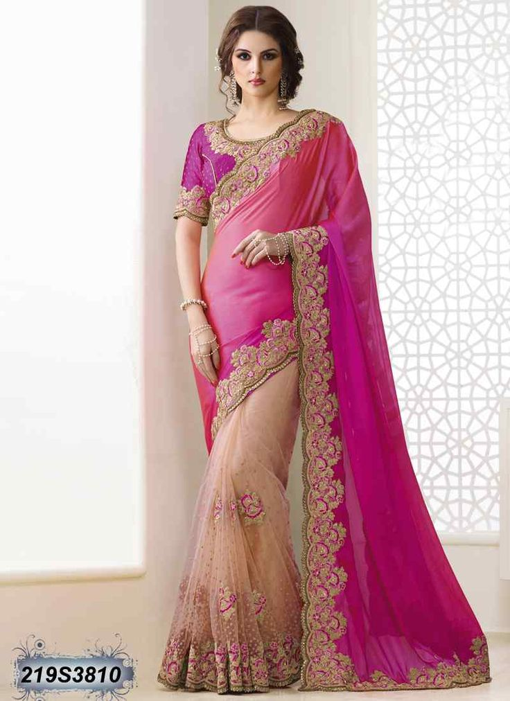 Striking Pink Coloured Faux Chiffon Saree