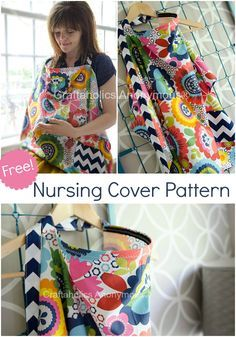 Free Nursing Cover Breastfeeding Cover Sewing pattern with a pocket for pacifers. What an awesome handmade Baby Shower gift idea!