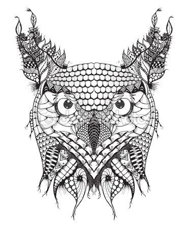 Búho Cornudo zentangle cabeza estilizada, vector, Ilustración, lápiz a mano alzada, dibujado a mano, patrón. Arte Zen — Stock Illustration #102672246