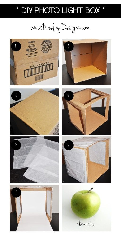 DIY Photo Light Box: Costs less than $20 and less than 1 hour to make!   Source: www.maelingdesigns.com