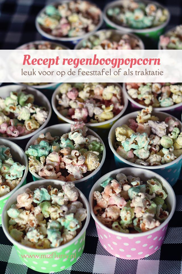 Heerlijk recept om zelf zoete gekleurde popcorn te maken. Leuk voor een eenhoorn- of regenboogfeestje en als traktatie.