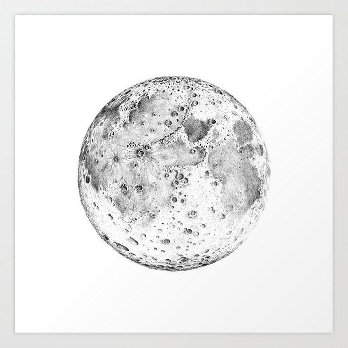 f8806162a6c8b99517a181490fe61de7 » Pencil Realistic Moon Drawing