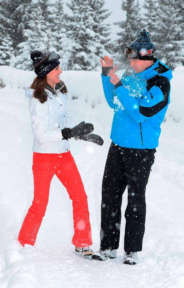 The Duke and Duchess of Cambridge after she threw a snowball at him during a short private break skiing in the French Alps