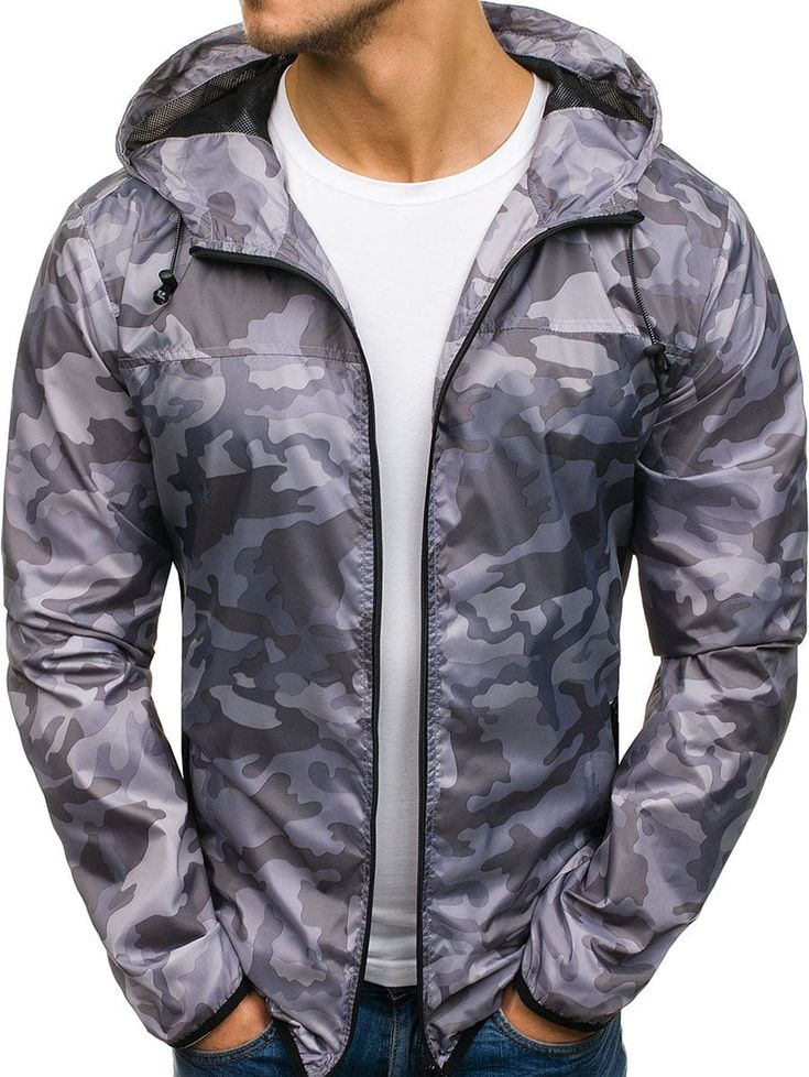 Camouflage Pattern Zip Fly Hooded Jacket   Leather jacket ...