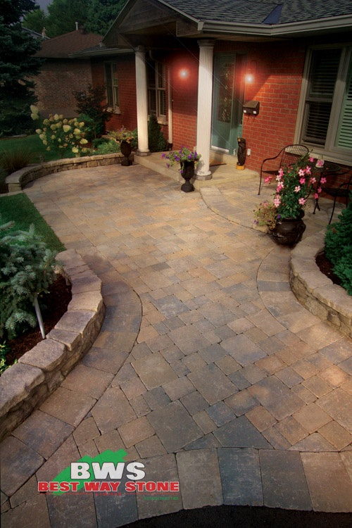 #outdoor #entrance: Best Way Stone > Paver: Strada Antico (Beige Mix) / Wall: Belvedere (Windsor Blend) available at our store at 3500 Mavis Rd, Mississauga, ON L5C 1T8