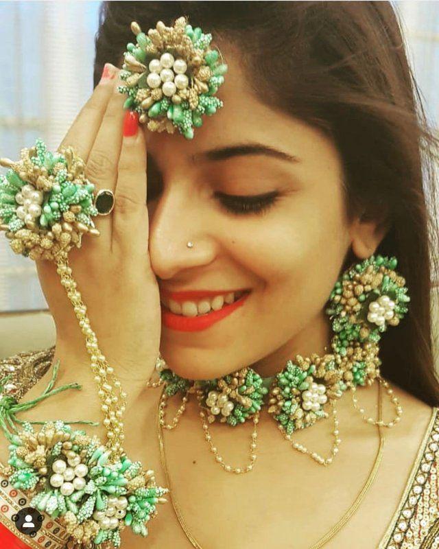 Beautiful Multicolored Floral Jewellery set for Haldi Mehandi