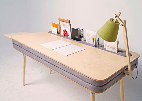 Oxymoron Desk Blends the Best of Work + Home Surfaces. Interesting concept. I like it but might get dirty