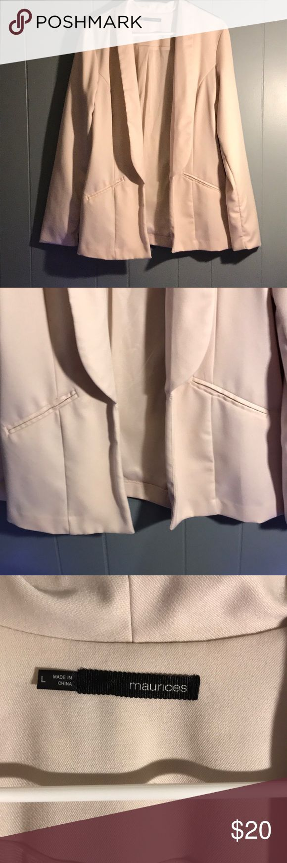 Maurices light pink blazer size L Maurices long length blazer size Large, pale pink color with two faux pockets on front. Worn only a couple times! Maurices Jackets & Coats Blazers