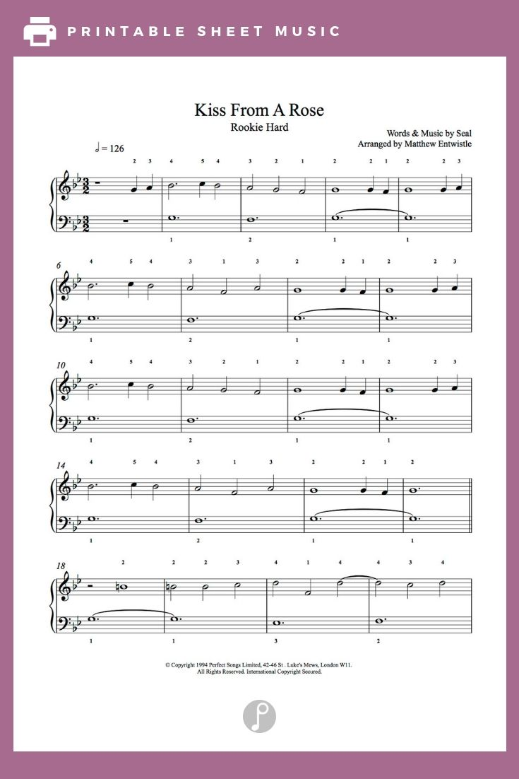 Kiss From A Rose by Seal Piano Sheet Music   Rookie Level   Sheet ...