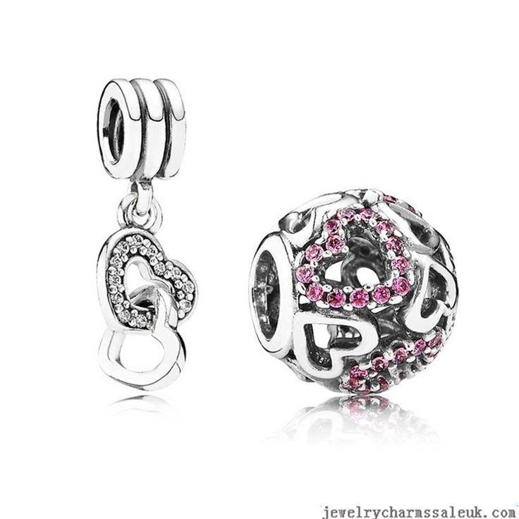 4dc92c69a ... Authentic Pandora Sparkling Heart Charm Set With Cubic Zirconia Set  Clearance Deals ...